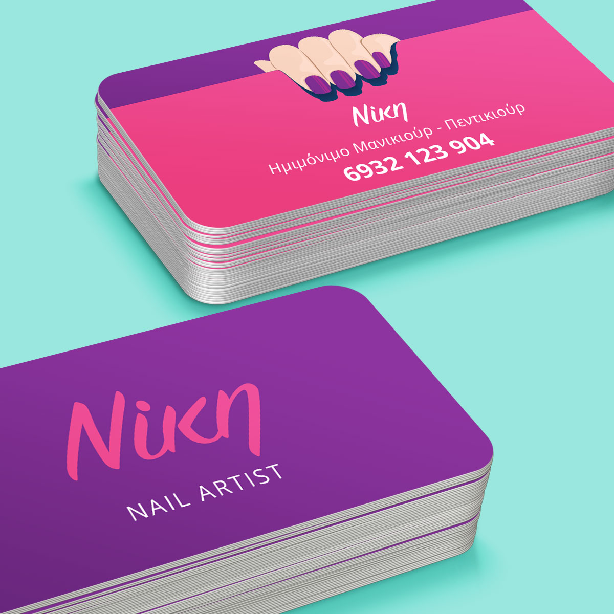 Nail salon designs business cards